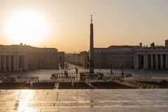 Sunrise on St Peter`s square in Vatican royalty free stock photography