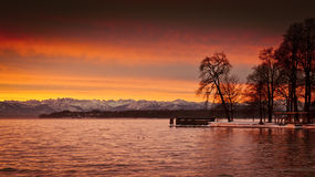 Sunrise at Starnberg lake Stock Images