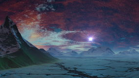 Sunrise stars (UFO) over the ice desert. Night. Mountain covered with snow framed by icy plateau. In the dark sky red gas nebula changes its shape. Rises above stock video
