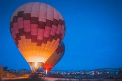 Morning start of Hot air balloon flying over Cappadocia. royalty free stock photography