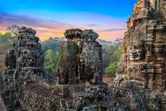Sunrise statue Bayon temple, Angkor, Cambodia Stock Photos