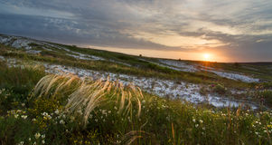 Sunrise in steppe Stock Photos