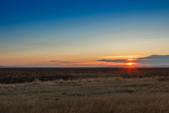 Sunrise in the steppes Stock Photo