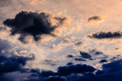 Sunrise storm large clouds Royalty Free Stock Image