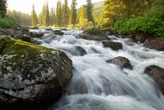 Sunrise and stream. Sunrise and mountain flowing stream Royalty Free Stock Photo