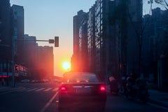 Sunrise on the street. Stock Photos