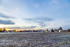 Sunrise in a suburb of Munich with Chinool winds Stock Photo