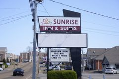 Sunrise Inn and Suites Motel, Brownsville, Tennessee. Sunrise in and suites is a motel that offers daily room and living suites with free wireless internet and Royalty Free Stock Images