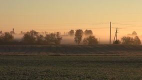Sunrise and summer end farmland fields stock video footage