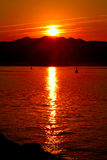 Sunrise. Summer sunrise in the Gulf of Roses, with the Pyrenees behind Stock Photo
