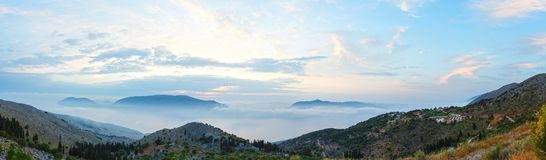 Sunrise summer mountain landscape ( Kefalonia, Greece). Royalty Free Stock Photos