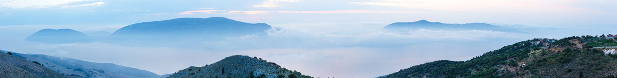 Sunrise summer mountain landscape ( Kefalonia, Greece). Stock Photos
