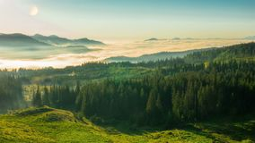 Misty Morning in the Mountains stock footage