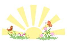Sunrise and summer nature - eps Stock Photo