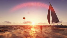 Sunrise summer scene, air balloon and yacht sailing. Flight over sea