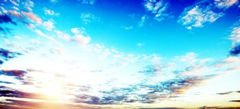 Sunrise summer sky panorama Stock Photography