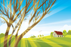 Sunrise summer or spring landscape. Vector illustration Royalty Free Stock Images