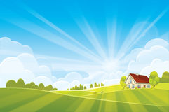 Sunrise summer or spring landscape. Vector illustration Royalty Free Stock Photos