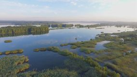 Sunrise at summer time lake and green forest, sand and reflection in water, Poland lanscape. View from above. stock video footage