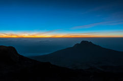Sunrise on summit night, Kilimanjaro Stock Images