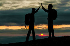 Sunrise summit success. In mountains.Peace and peaceful concept Stock Images