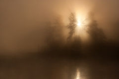 Sunrise Sun Mist Lake. Morning nature foggy scene (landscape): sunrise (sunset) behind the trees surrounded by fog (mist) with a reflecting water surface (river Royalty Free Stock Photography