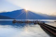 Sunrise. In Sun Moon Lake ,Shot in Asia in Taiwan Royalty Free Stock Photography