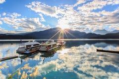 Sunrise. In Sun Moon Lake ,Shot in Asia in Taiwan Stock Photography