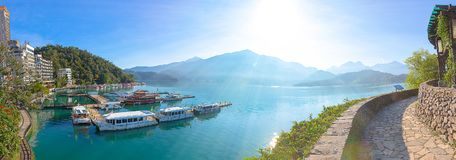 Sunrise in Sun Moon Lake Taiwan. With boat stock images