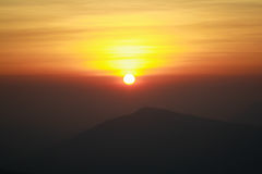 Sunrise. Sun rise on the mountain Royalty Free Stock Image