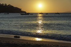 Sunrise. Sun is rising in Agia Pelagia bay, Crete, Greece Stock Images