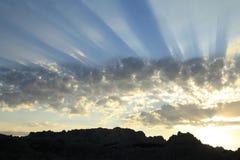 Sunrise Sunbeams over the Badlands in South Dakota Stock Photography