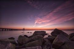 Before sunrise. Sunrise over the Black Sea, Sea and rocks. Before sunrise. Sunrise over the Black Sea Stock Image