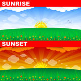 Sunrise and sunset Royalty Free Stock Photo