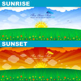 Sunrise and sunset. With place for your text Royalty Free Stock Images