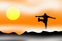 Sunrise sunset celebrate. An illustration showing a person and a sunrise or sunset with mist and clouds around. The person is shown in silhouette jumping and Royalty Free Stock Photos