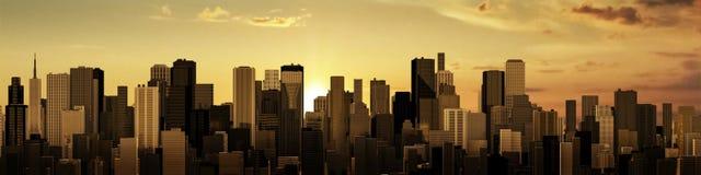 Sunrise-sunset city panorama Stock Image