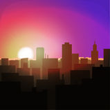 Sunrise or sunset in city. urban landscape evening or morning. Sunrise or sunset in metropolis. city landscape evening or morning. urban architecture, skyline Stock Images