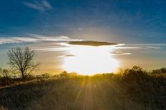Sunrise or Sunset Colorado meadow stock photos