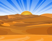 Sunrise (sunset) in desert Royalty Free Stock Photography