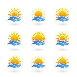 Sunrise or sunset icons Stock Image
