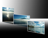 Sunrise and sunset on Lake Maggiore. Series of photographs of Lake Maggiore at dawn and dusk Stock Image