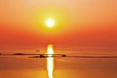 Sunrise sunset ocean. Boat at china Stock Images