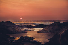 Sunrise or sunset over the ocean. Toned image Royalty Free Stock Image