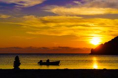 Sunrise or sunset over sea surface Royalty Free Stock Images