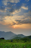 Sunrise from the Sunset Peak,. Hong Kong. The grass in the front stock photo