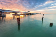 Sunrise and Sunset in Penang Bridge George Town, Penang Malaysia Royalty Free Stock Photography