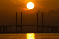 Sunrise and Sunset in Penang Bridge George Town, Penang Malaysia Stock Images