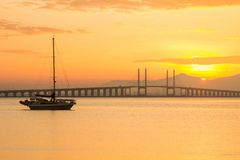 Sunrise and Sunset in Penang Bridge George Town, Penang Malaysia Stock Photography
