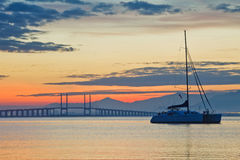 Sunrise and Sunset in Penang Bridge George Town, Penang Malaysia Stock Image